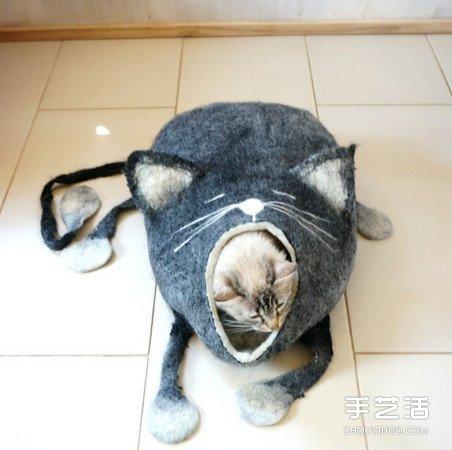 羊毛氈打造貓窩 連屋子都打呵欠了能不睡嗎!