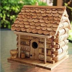 红酒瓶塞废物利用DIY制作可爱的玩具屋鸟