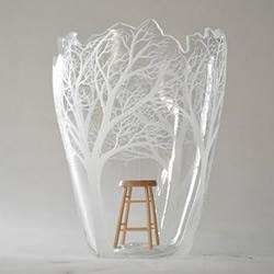 玻璃雕刻作品:用电钻刻划出心中的森林圣殿