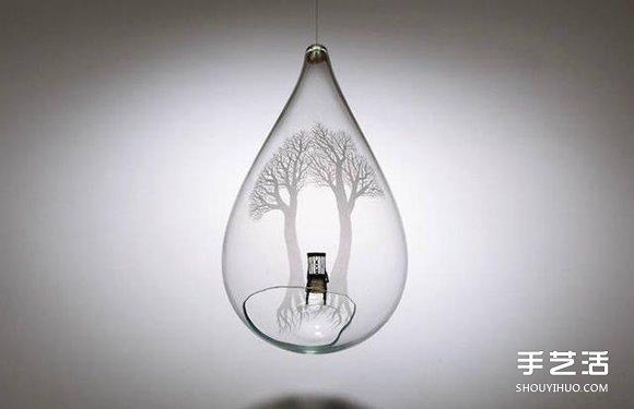 玻璃雕刻作品:用電鑽刻劃出心中的森林聖殿