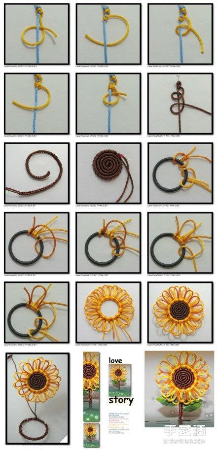手工太陽花的編法圖解 編織太陽花的方法教程