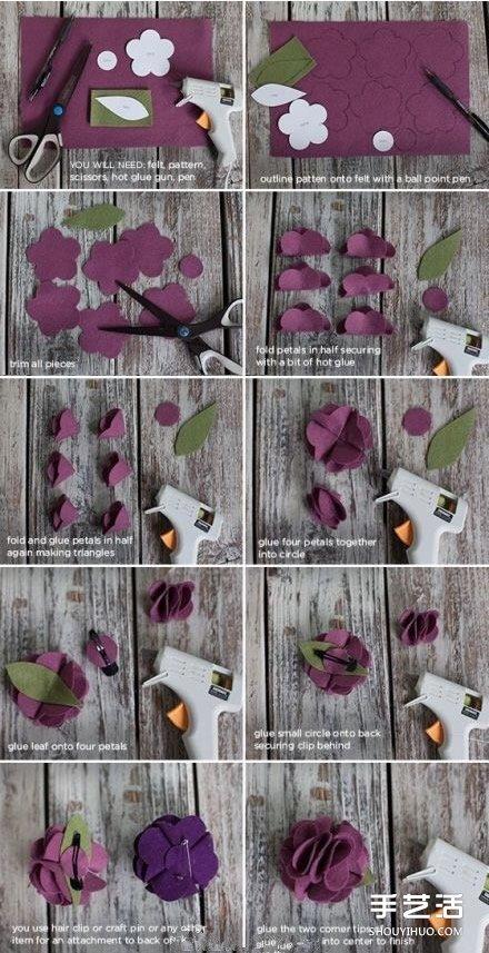 毛氈布花髮夾手工製作 毛氈布藝花朵胸花DIY