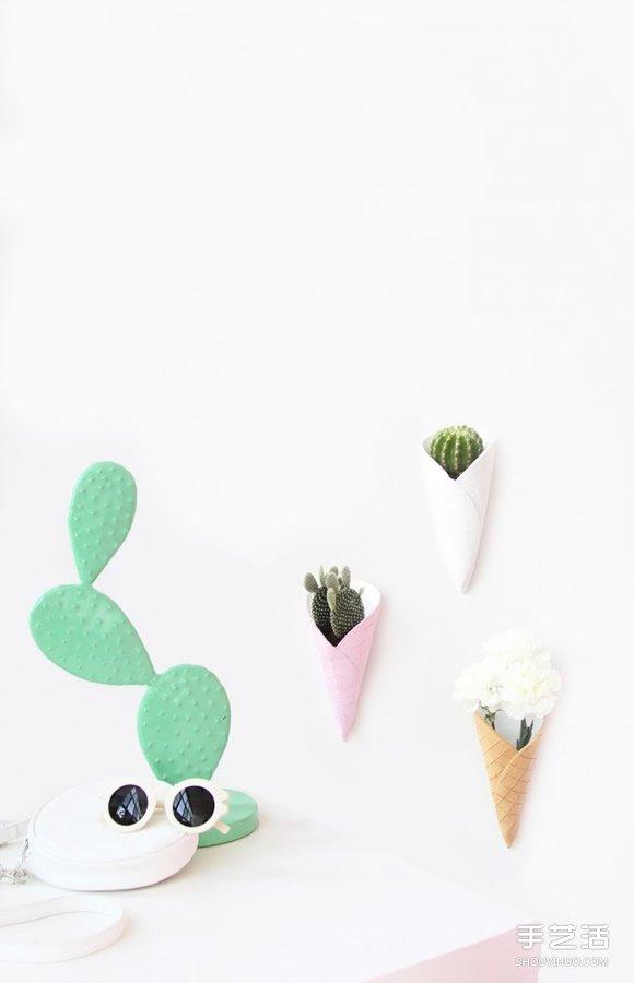 自製蛋卷冰淇淋花盆 軟陶花盆DIY製作教程