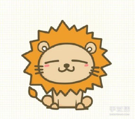 可爱小狮子简笔画_可爱狮子简笔画步骤 狮子简笔画彩色图片教程_手艺活网