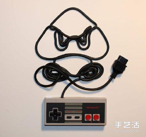 任天堂游戏手柄线DIY制作怀旧风创意装饰画 -www.shouyihuo.com