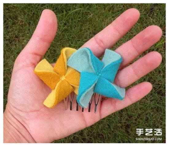 布藝風車發簪製作教程 風車發簪髮飾DIY圖解