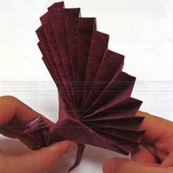 折纸孔雀开屏图解教程 孔雀开屏的折法步