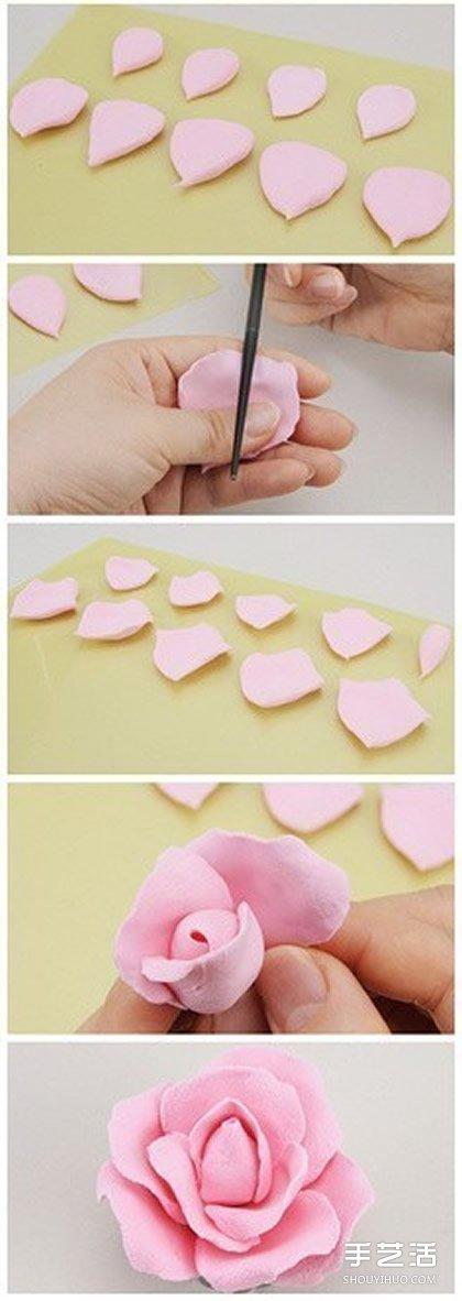 粘土玫瑰花製作圖解 用粘土製作玫瑰花的教程