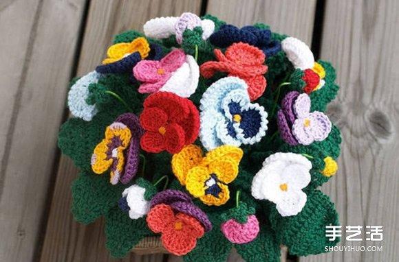 手工針織逼真的三色堇花盆栽花籃圖解教程