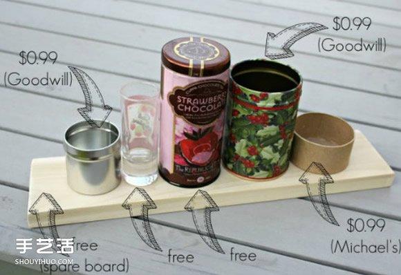 鐵罐廢物利用DIY手工製作漂亮文具架的教程