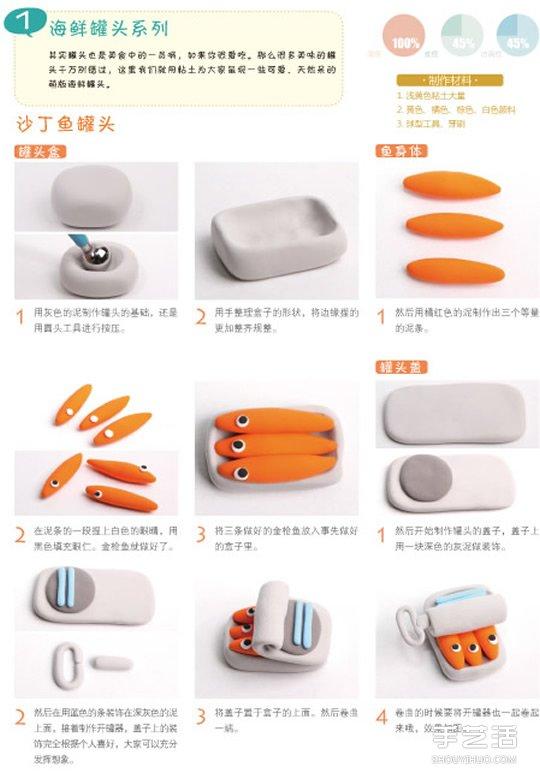 粘土沙丁魚DIY教程 沙丁魚罐頭粘土手工製作