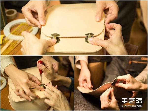 暖暖日式經典皮革小書包DIY手工製作圖解教程