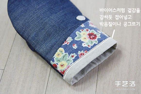 自制diy纸巾盒_旧牛仔裤改造再利用 DIY制作漂亮的烘焙手套_手艺活网