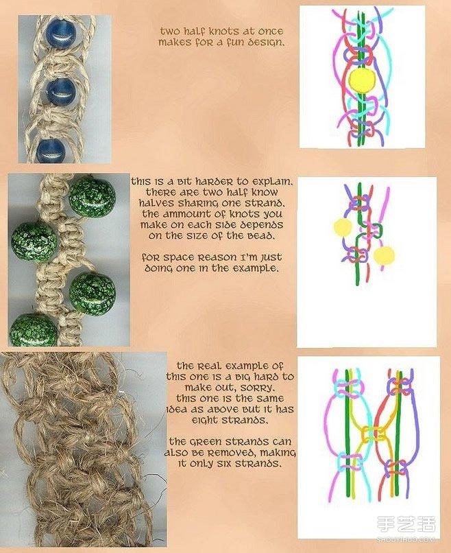 森女風的麻繩手鏈的編法 麻繩編織手鏈圖解
