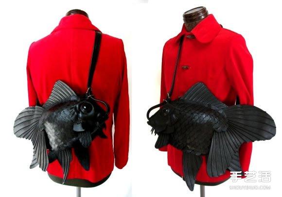 光滑皮革純手工打造的單肩背金魚包包