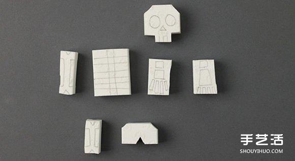 可以任意組合的骷髏小人橡皮章DIY圖解教程