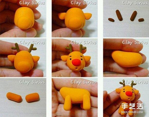 粘土圣诞老人和驯鹿教程 制作步骤图解超详细 -  www.shouyihuo.com