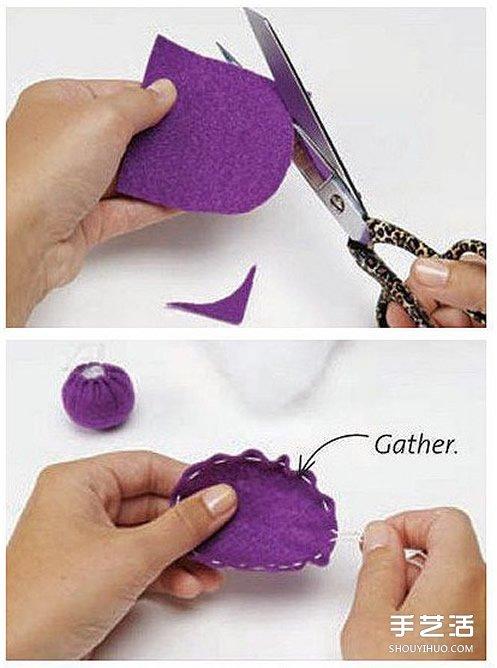 自制不織布針插的方法 迷你針插布藝DIY教程