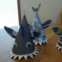 幼儿园自制帽子的教程 儿童鲨鱼帽手工制