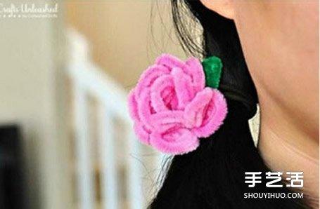 扭扭棒花朵教程圖解 DIY手工製作玫瑰花頭繩