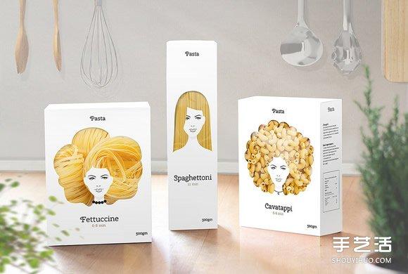 風情萬種的意大利麵包裝設計 麵條變髮型啦