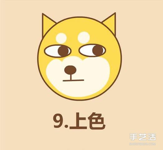黄色小电影._可爱秋田犬狗狗简笔画 简笔画狗头的画法图片_手艺活网