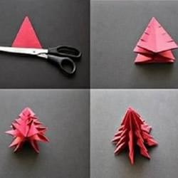 一张纸折纸圣诞树的折法 立体圣诞树折纸