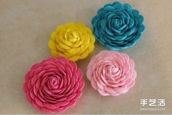 利用不織布花邊DIY製作漂亮的花朵髮夾髮飾