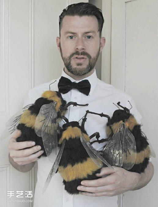 """英國男子""""女紅""""作品 廢舊布料縫製出的動物"""
