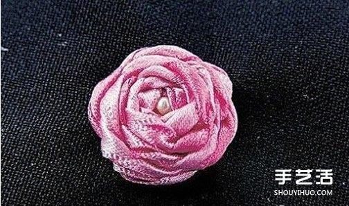 基礎絲帶綉教程:五角玫瑰絲帶綉針法圖解