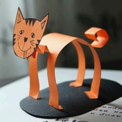 幼儿立体猫咪的做法 简单剪纸制作站立猫