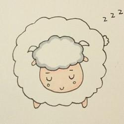 睡觉的小绵羊简笔画的画法教程 包括上色