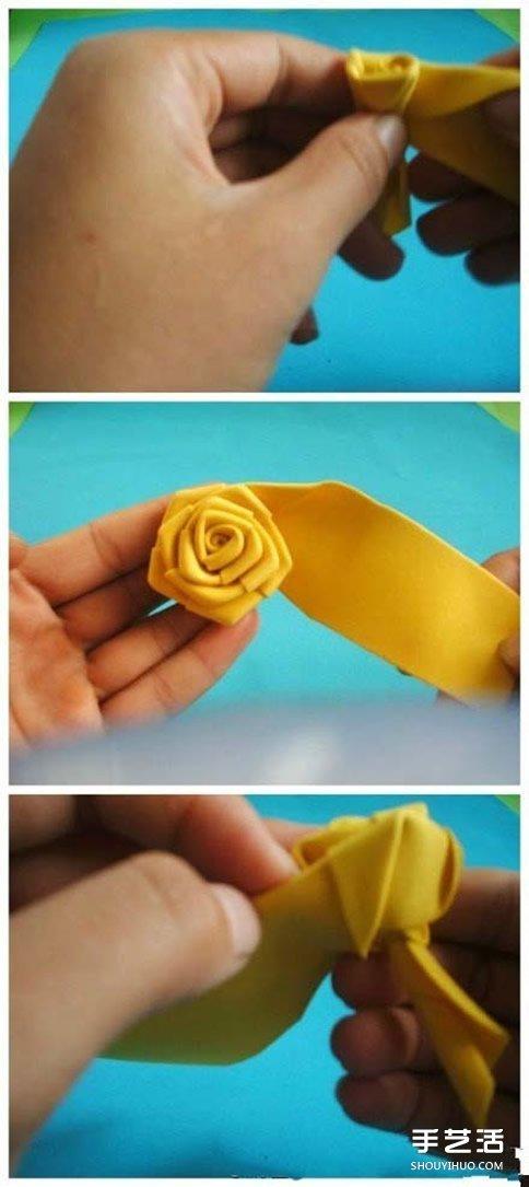 如何用海綿紙折玫瑰花 海綿紙玫瑰花折法圖解