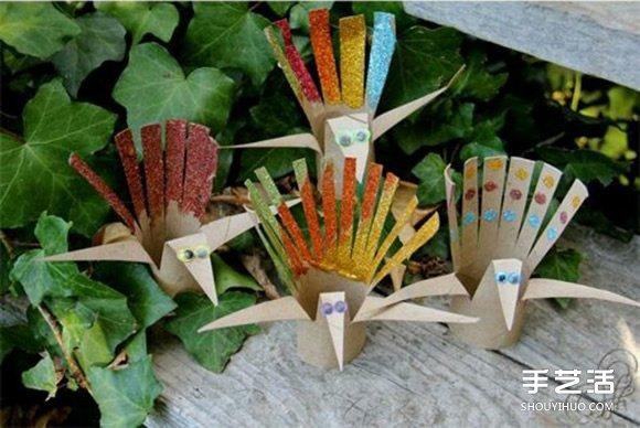 卷纸筒孔雀的制作方法图解 立体开屏很漂亮哦 -  www.shouyihuo.com