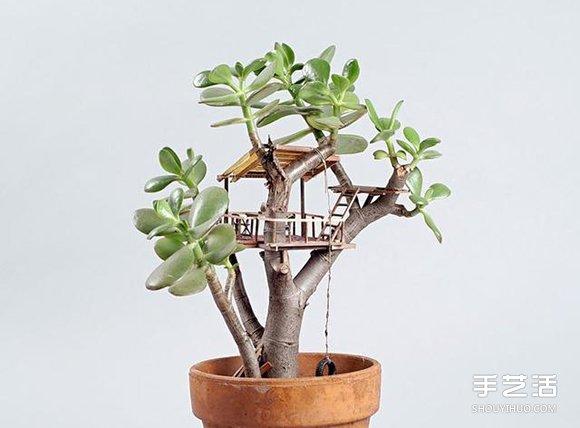 盆栽上DIY精緻樹屋模型 小人國般的微型建築