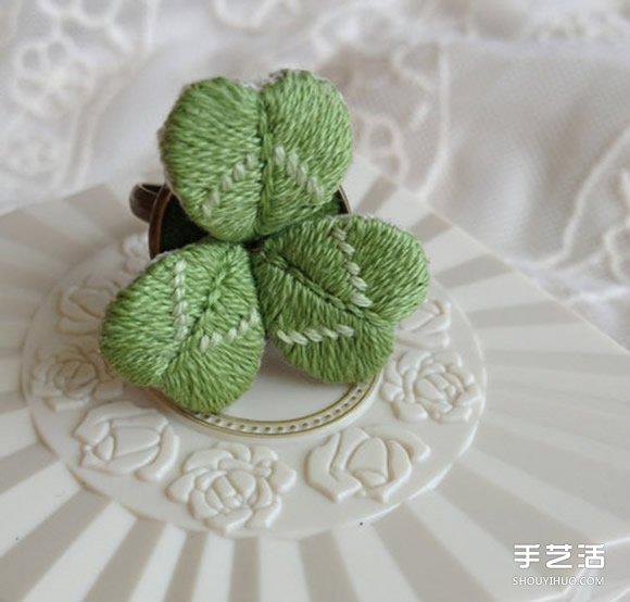 可爱小清新刺绣三叶草戒指DIY 戴着美呆啦~ -  www.shouyihuo.com