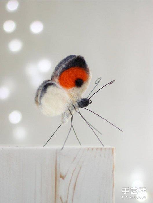美麗的羊毛氈蝴蝶圖片欣賞 逼真自然宛如活物