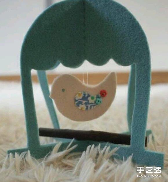 不織布鳥籠製作圖解 手工布藝鳥籠掛飾DIY教程