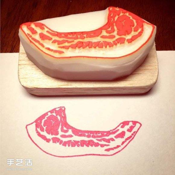 超逼真的肉块橡皮图章 小心被汪星人吃下肚呀 -  www.shouyihuo.com