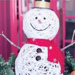 简单雪人的制作方法 用绳子DIY制作立体雪人