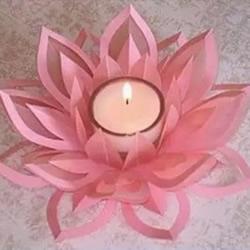 莲花烛台的制作方法 剪纸制作莲花烛台图