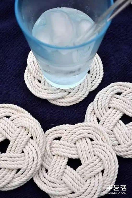 如何用麻绳制作杯垫教程 自制麻绳杯垫方法图解 手艺活网