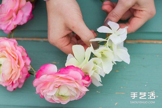 新娘鮮花花環製作方法 鮮花頭飾花環DIY教程