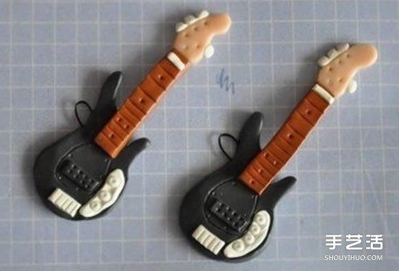 超輕粘土DIY製作迷你吉他的教程 可以當掛件
