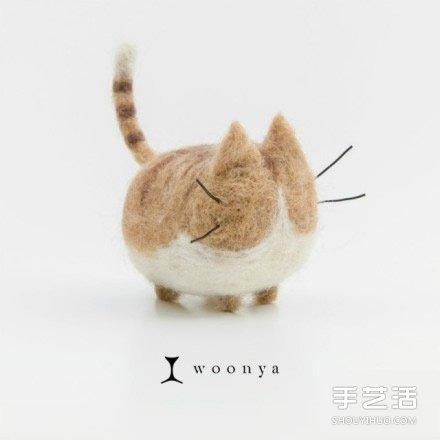 萌系羊毛氈貓咪作品欣賞 可愛的毛絨玩具貓咪