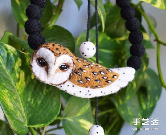 羊毛氈貓頭鷹小飾品作品圖片 項鏈手鏈掛件