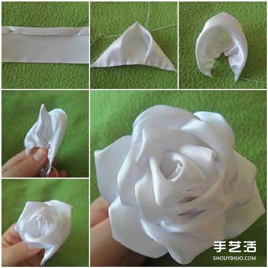 絲帶玫瑰花的折法圖解 寬絲帶玫瑰花的做法
