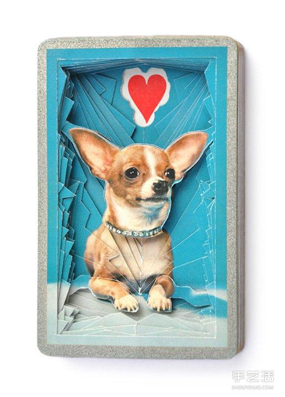 "3D扑克牌纸雕艺术 ""孤独之心""扑克纸雕作品 -  www.shouyihuo.com"