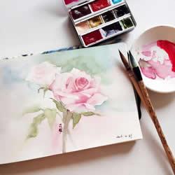 水彩画画花的步骤图片 花朵水彩画的技法教程