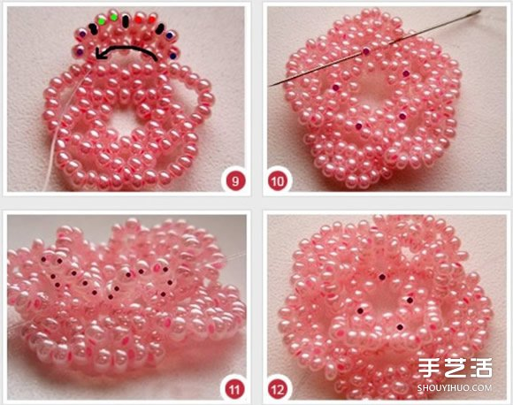 串珠花朵飾品圖解教程 精美古風串珠花DIY步驟